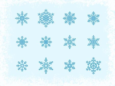 blue snowflakes: Different Blue Snowflakes at light blue background