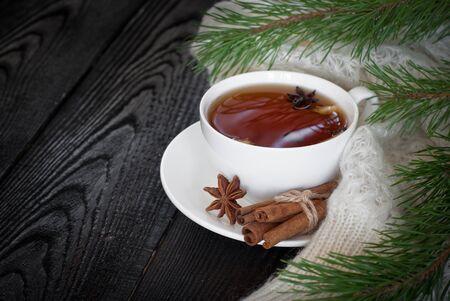 christmas tea: Winter black tea with spices - cinnamon, cloves and lemon.