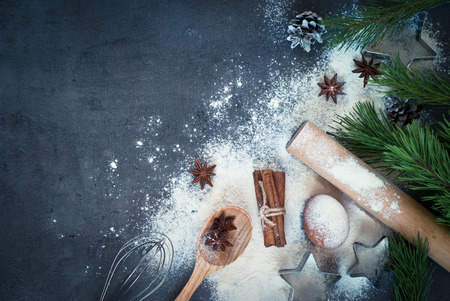 Ingredients for cooking Christmas baking. Top view, copy space.