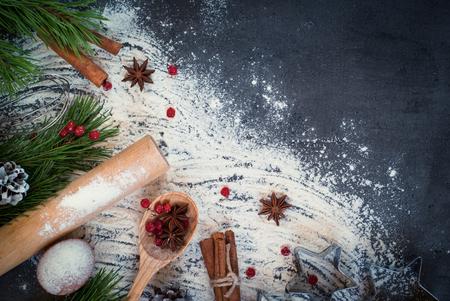 weihnachtskuchen: Bestandteile f�r das Kochen Weihnachtsb�ckerei. Ansicht von oben, Textfreiraum.