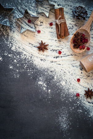 Ingredients for cooking baking - flour, egg and spices Top view, copy space. 写真素材