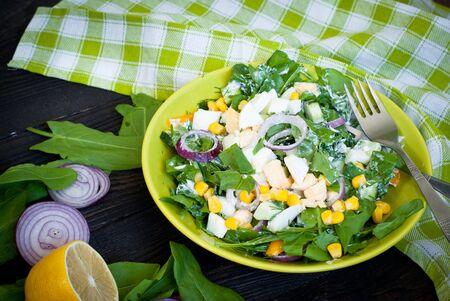 wood sorrel: Fresh green salad with sorrel, cucumber and eggs, greek yogurt and  olive oil.