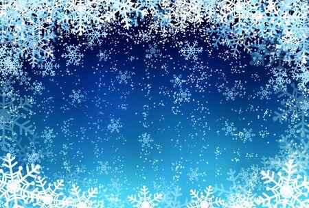 flocon de neige: fond d'hiver - la neige et les flocons de neige au bleu clair