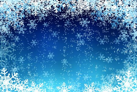 winter season: Winter background - snow and snowflakes at light blue