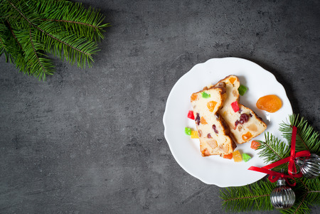dried fruits: Christmas sweet pie with curd and dried fruits. Top view
