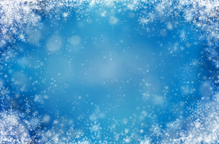 an illustration: Light blue background with snowflakes. Winter abstract background Stock Photo