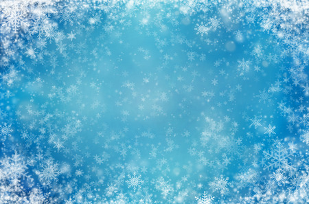 Light blue background with snowflakes. Winter abstract background 写真素材