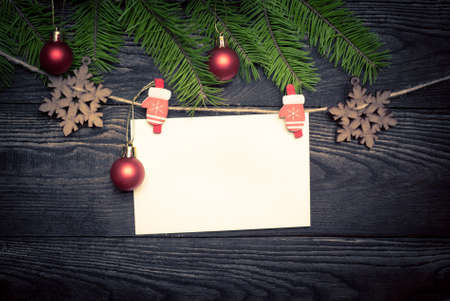 happy home: Empty card for christmas greetings at wooden.