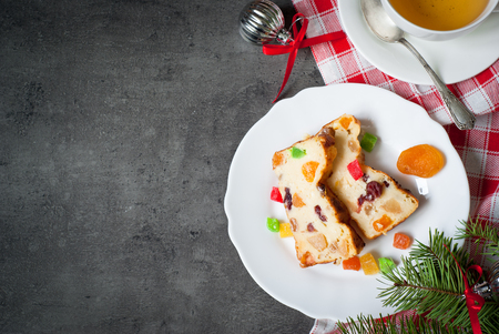 dried fruits: Christmas sweet pie with curd and dried fruits. Top view, copy space.
