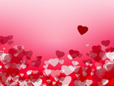 loving: Background with red and white hearts. Symbol of love, copy space. Stock Photo