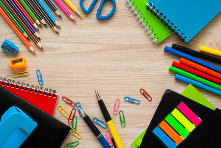 highlighter pen: School and office stationery at table. Top view with copy space.