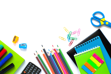 postit note: School and office supplies. Top view. Isolated on white background with copy space. Stock Photo