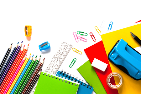 School and office supplies. Top view. Isolated on white background with copy space.