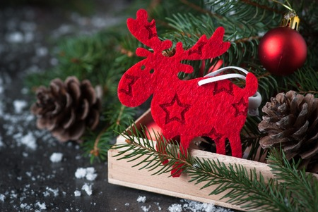 christmas elk: Traditional Sweden symbol Christmas Elk Moose. Christmas decorations in the box.