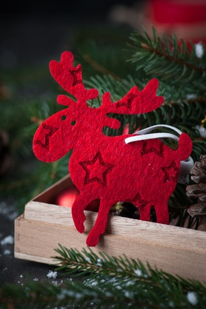 stock photo traditional sweden symbol christmas elk moose christmas decorations in the box - Christmas Moose Decorations