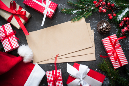 christmas gift boxes envelope and decorations christmas present background wrapping presents stock - Christmas Gift Decorations
