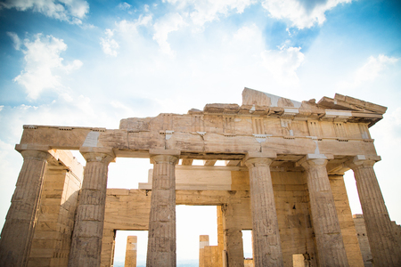 fasade: Propylaea of the Acropolis Athens, Greece. Ancient Architecture against blue sky.