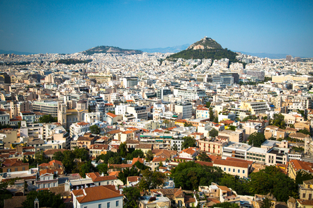 fasade: Cityscape of Athens and Lycabettus Hill in the background, Athens, Greece. Stock Photo