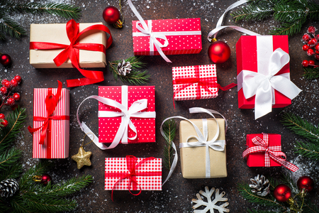 Christmas presents in red and white box Stock Photo