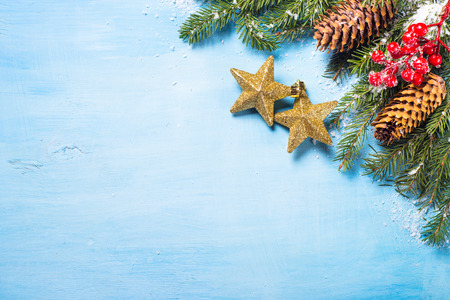 Christmas Background Or Greeting Card Gold Star Fir Tree Branch