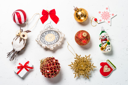 christmas background different christmas decorations on white marble table top view stock photo - Different Christmas Decorations