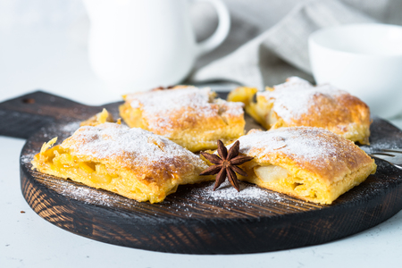 Apple strudel pie puff pastry. Traditional Austrian strudel with apple spices and sugar powder.