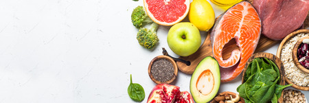Superfoods on white background. Healthy nutrition. Stock Photo
