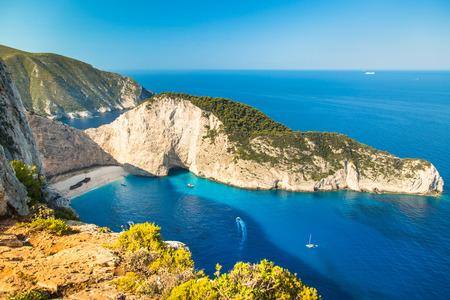 Famous Navajio beach on the island of Zakynthos, Greece. Mediterranean sea.