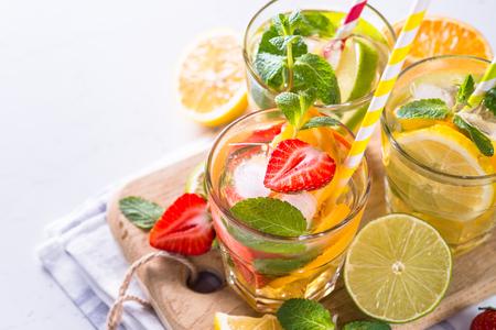 Cold summer drink assortment.