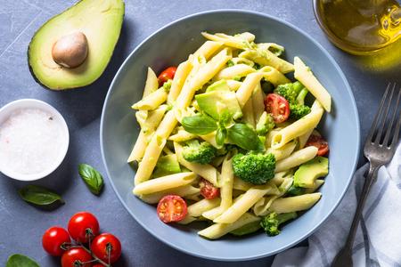 Vegan pasta penne with vegetables. Banco de Imagens