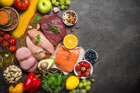 Fondo de alimentos de dieta equilibrada.
