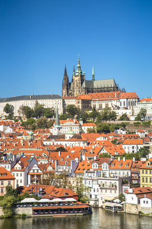 Old town of Prague and Prague castle, Czech Republic. 스톡 콘텐츠