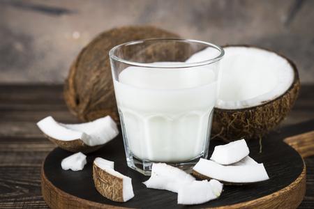Coconut milk in glass, Vegan milk. 版權商用圖片