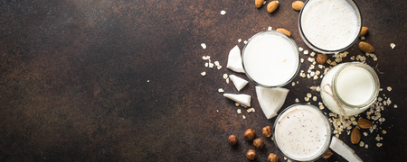 Vegan non dairy alternative milk, nuts and oat milk top view.