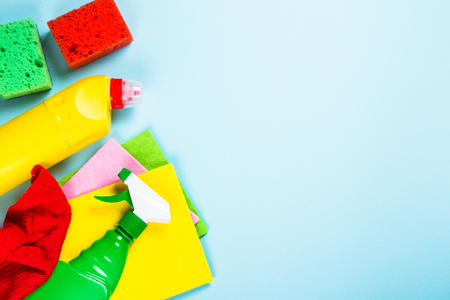 Cleaning product, household on white top view. Stock Photo