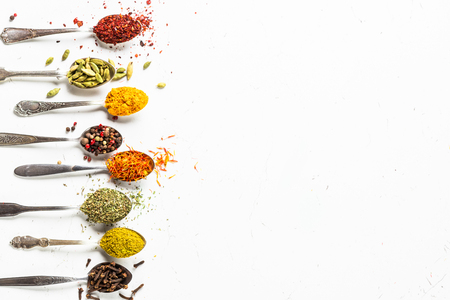 Set of indian spices in spoons on white