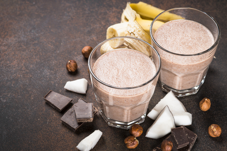 Chocolate banana coconut hazelnut milkshake or smoothie.