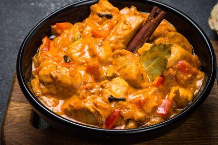 Pollo tikka masala con riso. Archivio Fotografico