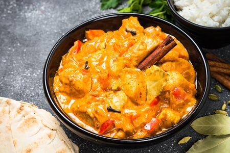 Poulet tikka masala avec riz. Banque d'images