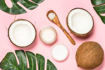 Coconut oil, natural cosmetic top view. Banco de Imagens