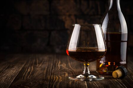 Cognac or brandy in the glass.