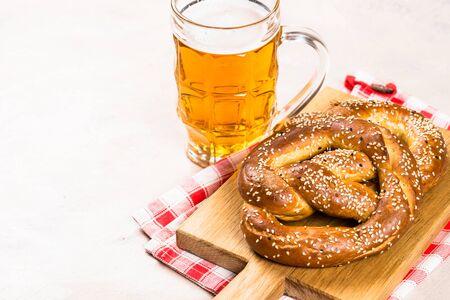 Oktoberfest food beer and pretzel.