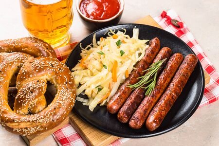 Sausage, sauerkraut, bretzels and beer.