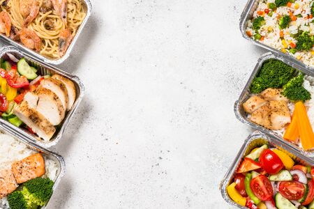 Food delivery concept - healthy lunch in boxes. Banco de Imagens