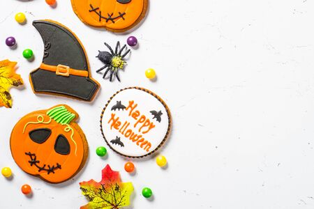 Halloween Gingerbread Cookies - pumpkin, ghosts, witch hat, spider