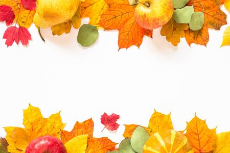 Autumn flat lay background with leaves and harvest on white.