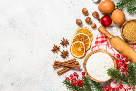 Christmas baking background on white table. Stockfoto