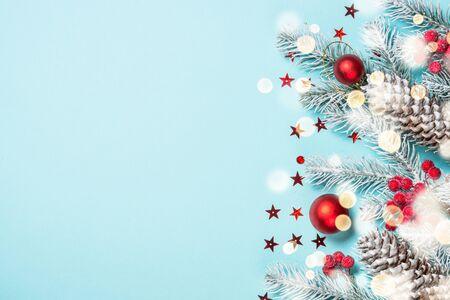 Christmas flat lay background on blue. Stockfoto