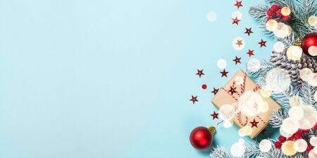 Christmas flat lay background on blue. Reklamní fotografie