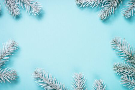 Christmas flat lay background on blue. Stockfoto